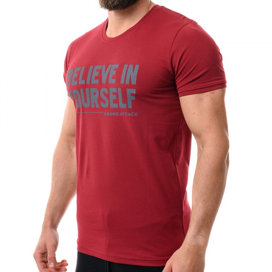23323-3 Bordo Мъжка Тениска Believe M-XXL